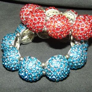 Jewelry - Pair rhinestone bubbles stretch bracelets NWOT